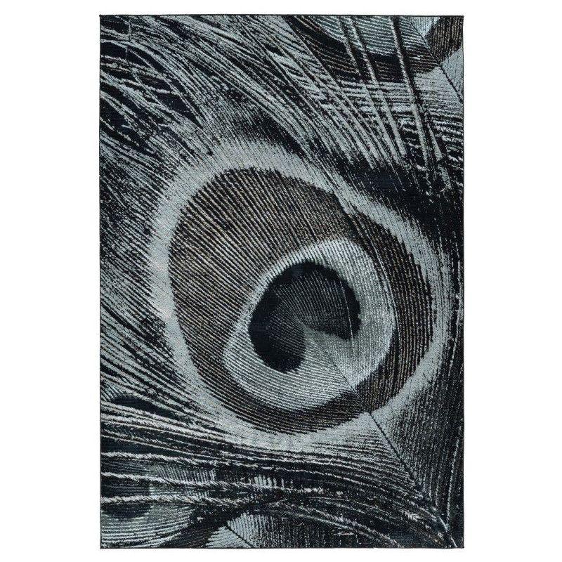 Extravagantný koberec s dizajnom pávieho pera.