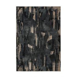 Extravagantý čierny koberec s béžovými prvkami, jemný na dotyk, tlmí zvuk. Je vyrobený zo 100% recyklovaných pet fliaš.