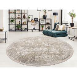 Trendový okrúhly koberec Bestseller Cava 947 šedo zlatá