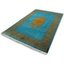 Orientálny koberec Indo-Täbriz hodváb modrá - zlatá